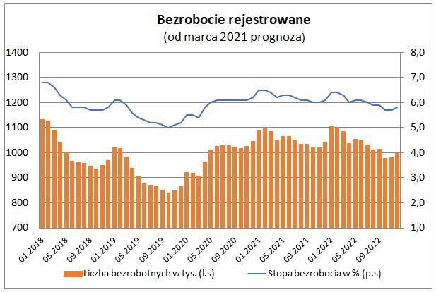 Bezrobocie rejestrowane w lutym 2021 - wykres