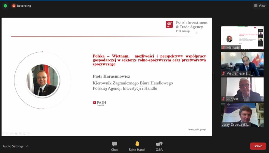 Seminarium biznesowe i rozmowy handlowe online.Zróbmy razem biznes: Polska-Wietnam – możliwości i perspektywy współpracy gospodarczej w sektorze rolno-spożywczym oraz przetwórstwa spożywczego